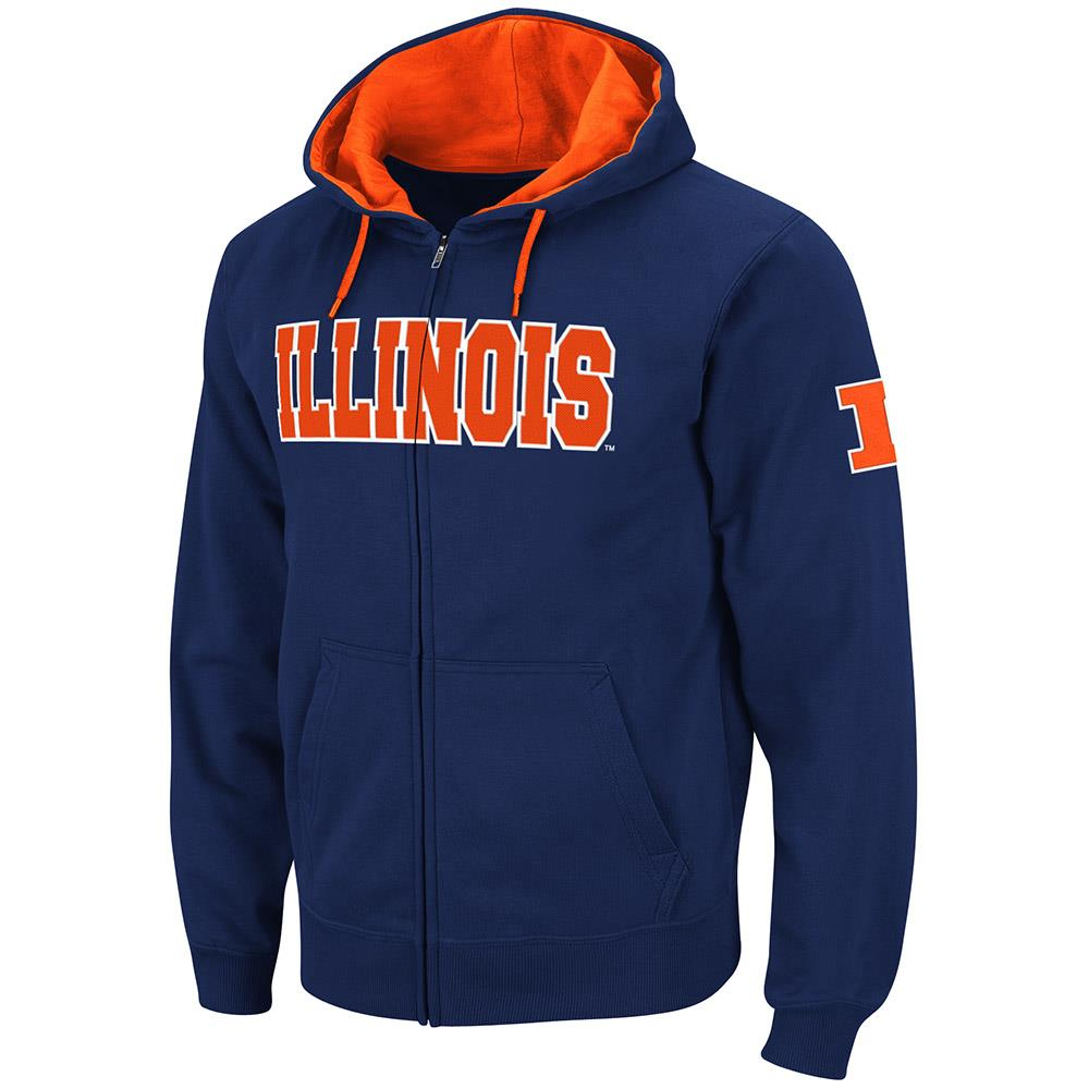 Mens Illinois Fighting Illini Full Zip Hoodie - S
