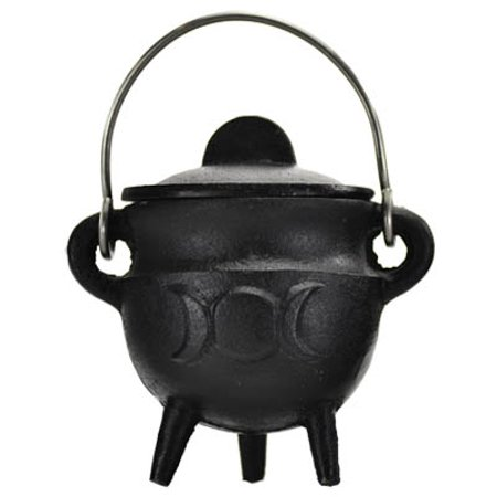 Wood Burning Fireplace Accessories Cauldrons Triple Moon Cast Iron Black with Handle and Lid Small 2 3/4