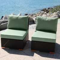 Bellini Home and Gardens Teana Wicker 2 Piece Patio Section Armless Chair Set