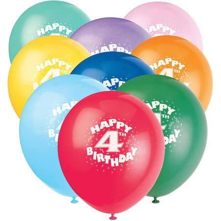 12 Happy 4th Birthday Latex Balloons 6ct