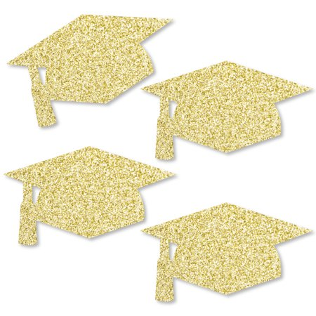 Gold Glitter Grad Cap - No-Mess Real Gold Glitter Cut-Outs - Graduation Party Confetti - Set of