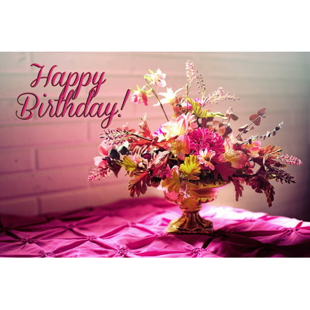 Peel N Stick Poster Of Birthday Happy Flowers 24x16 Adhesive Sticker Print