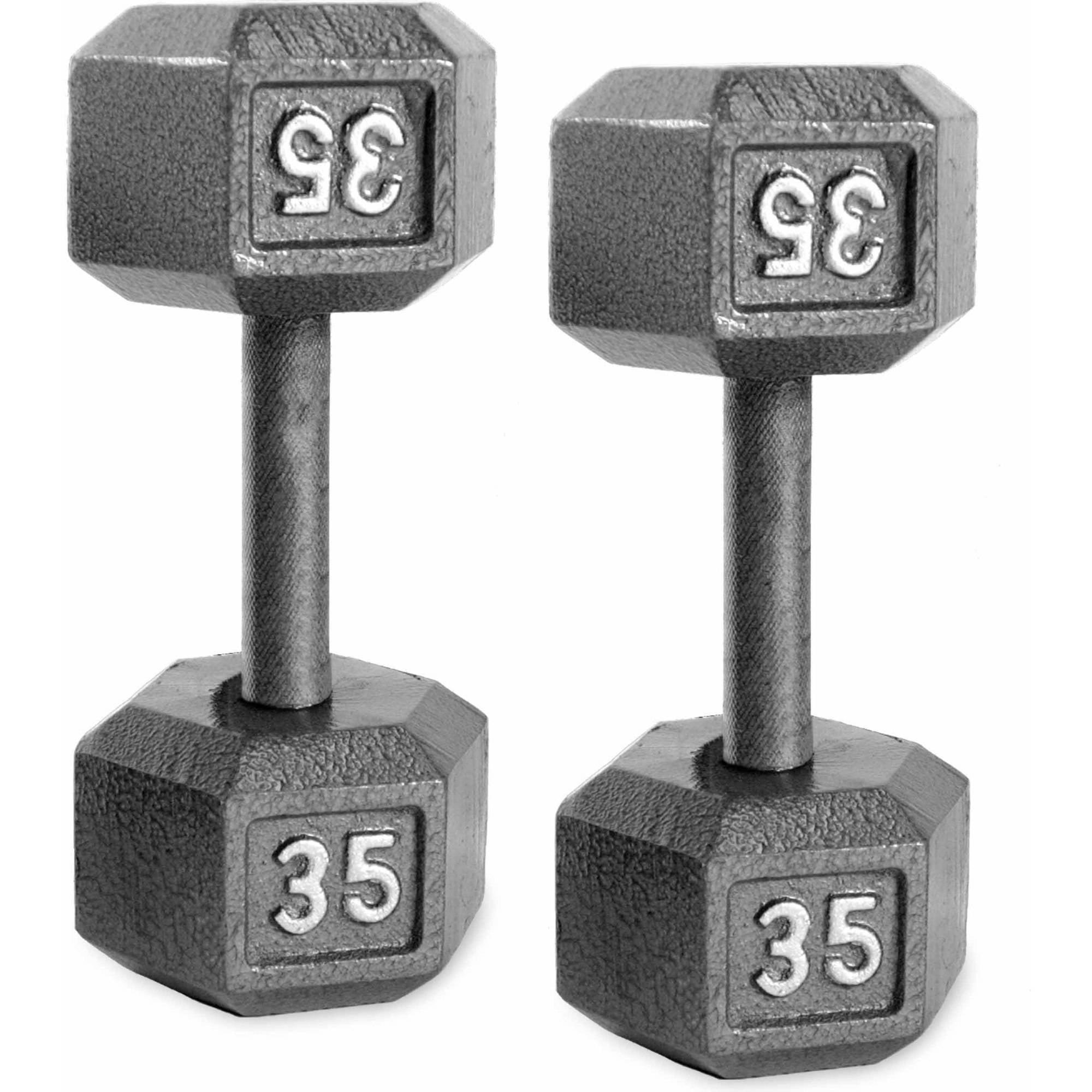 10 lb total Pair of 5 lb Cast Iron Hexagon Vintage Dumbbells