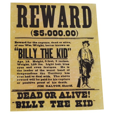 Billy The Kid Wanted Dead or Alive Gun Outlaw Poster Old West Bar/Pub Wall Decor Billy The Kid Wanted Poster