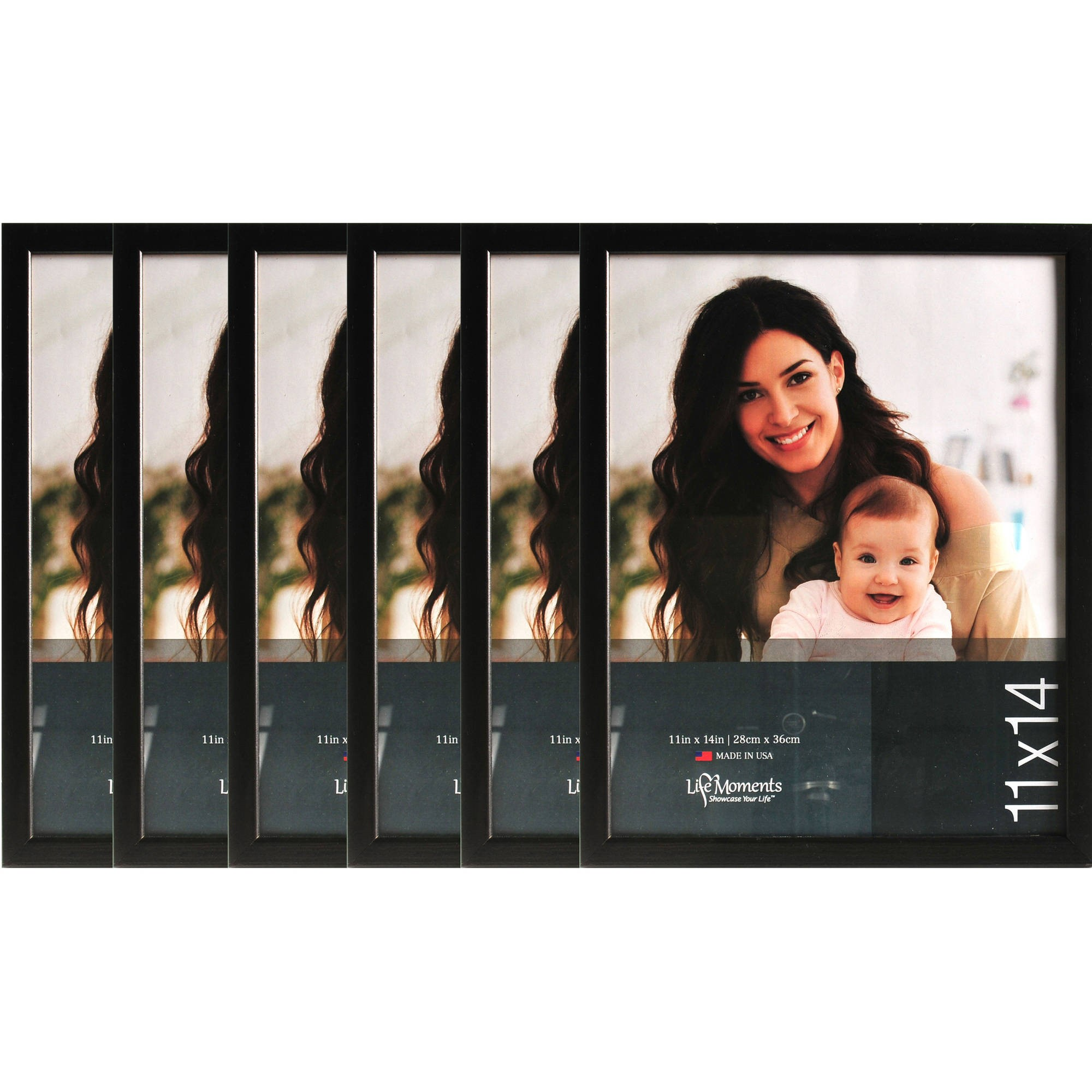 11x14 Black Wood Wall Photo Frames, Case of 6