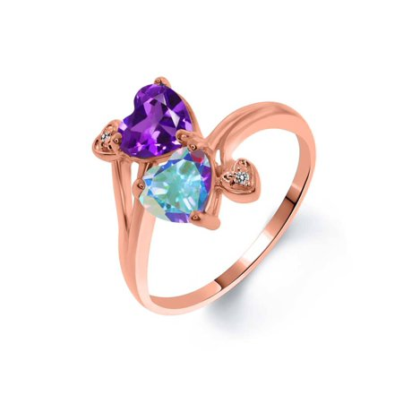 1.63 Ct Purple Amethyst Mercury Mist Mystic Topaz 18K Rose Gold Plated Silver Ring