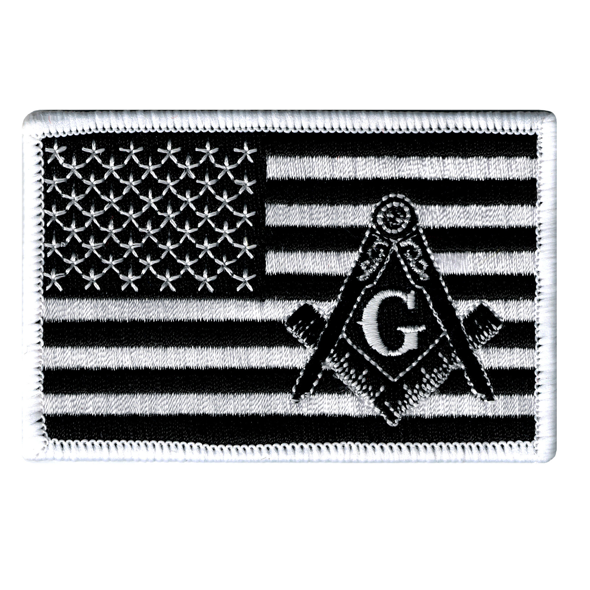 American Flag Iron-on Embroidered Patch Black Masonic Square and Compass