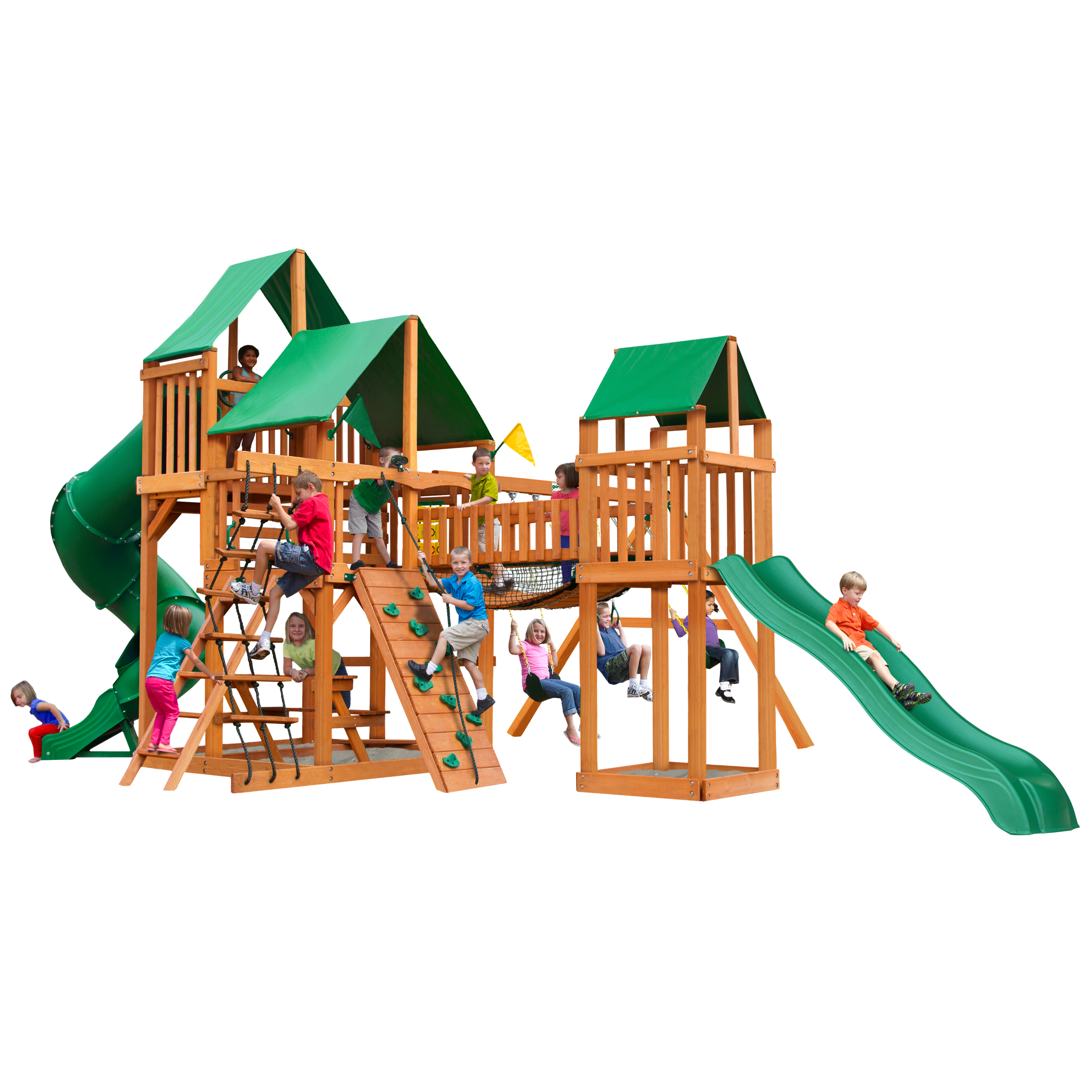 Gorilla Playsets Treasure Trove I Wooden Swing Set with Green Vinyl Canopy, 2 Slides, and Clatter Bridge and Tower