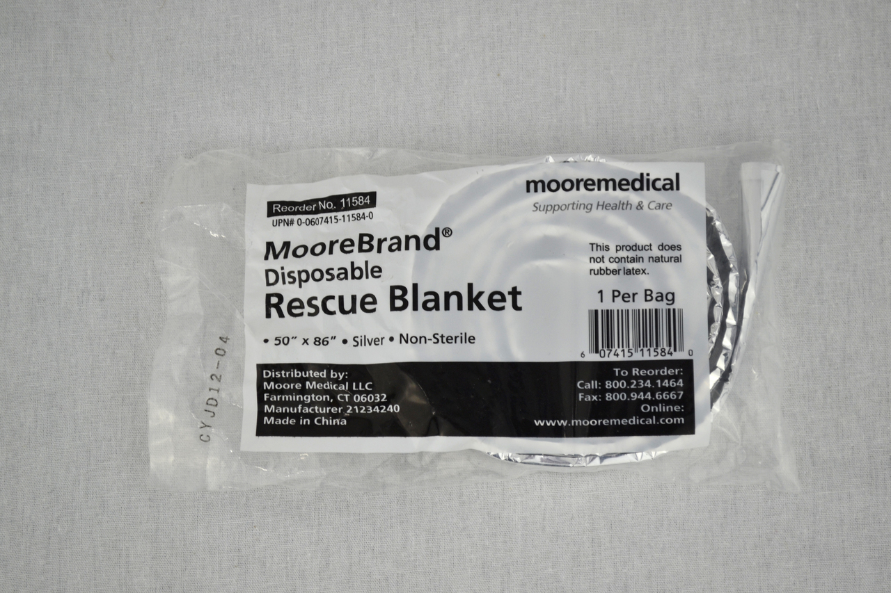 "MooreBrand Rescue Thermal Emergency Blanket Silver 50"" x 86""-1 Each by Moore Medical"