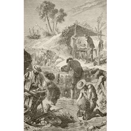 Panning For Gold From The Book Chips From The Earths Crust Published 1894 Poster Print, 22 x 36 - Large - image 1 of 1