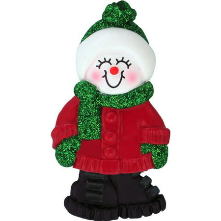 (Female Name Snowgirl Julia Personalized Christmas Tree Ornament)