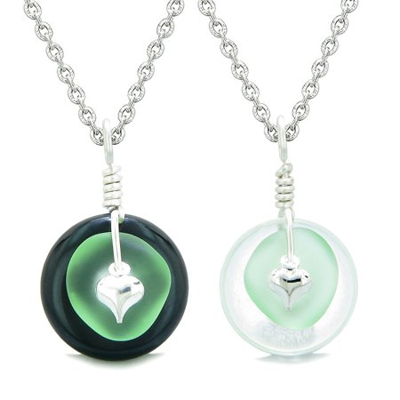 Sea Glass Yin Yang Love Couples BFF Set Mint Green Heart Black Agate Crystal Quartz Donut Amulet Necklaces