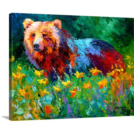 Great BIG Canvas | Marion Rose Premium Thick-Wrap Canvas entitled Wildflower Grizz (Wildflowers Rose)