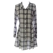 Lunn Women's Diva Plaid Button Down Shirt Dress Chantilly