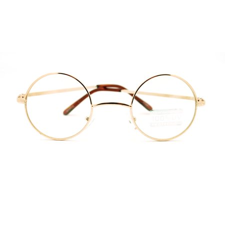 513fdc1d17 Metal Frame John Lennon Circle Lens Round Eyeglasses - Gold - Walmart.com