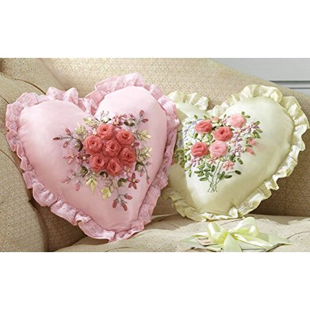 Collections Etc Embroidered Ribbon Heart Accent Pillow