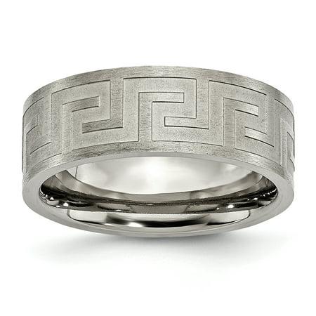 Titanium Greek Key 8mm Wedding Ring Band Size 10.50 Designed Gifts For Women For (Ruby Greek Key Ring)