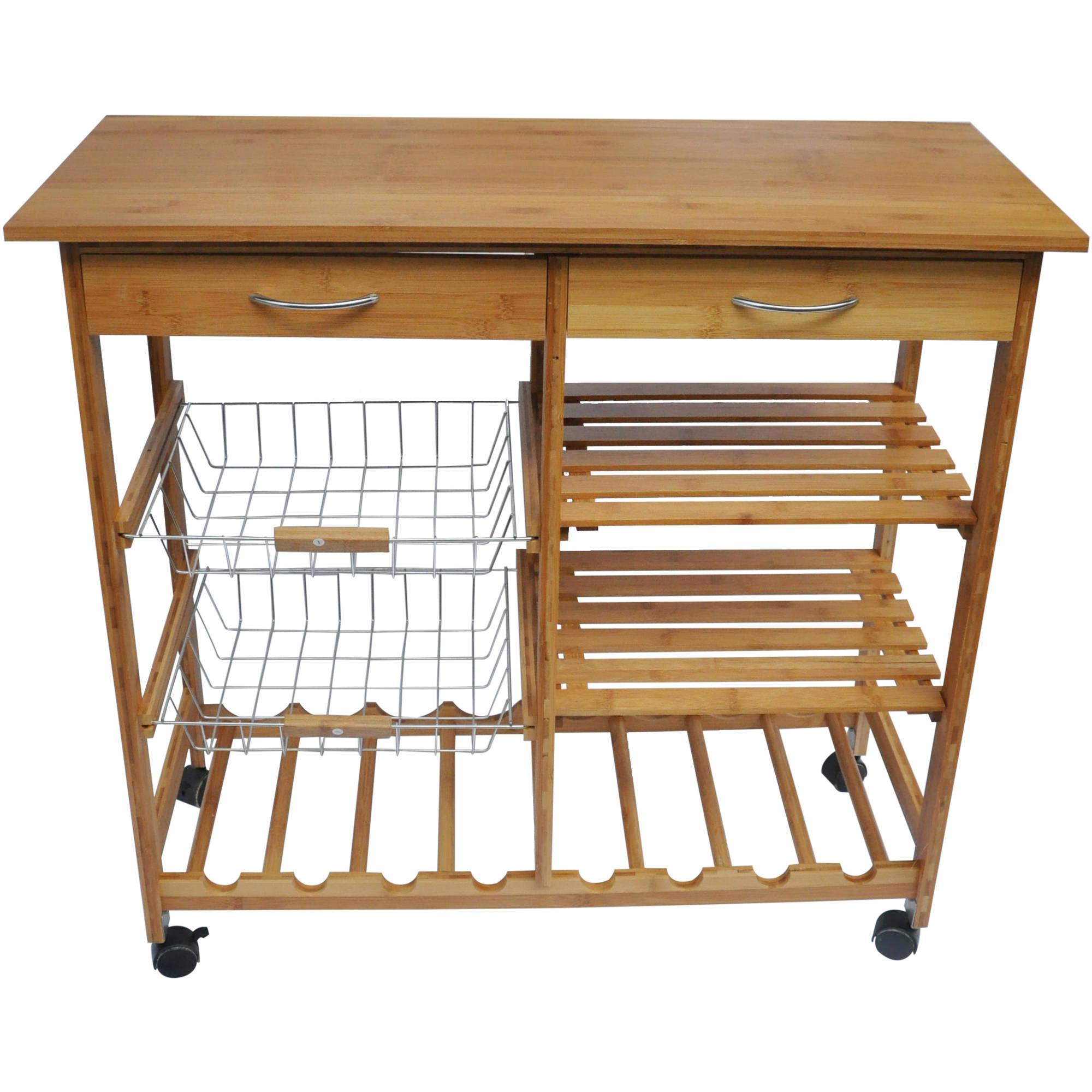 Bamboo Wood Kitchen Cart