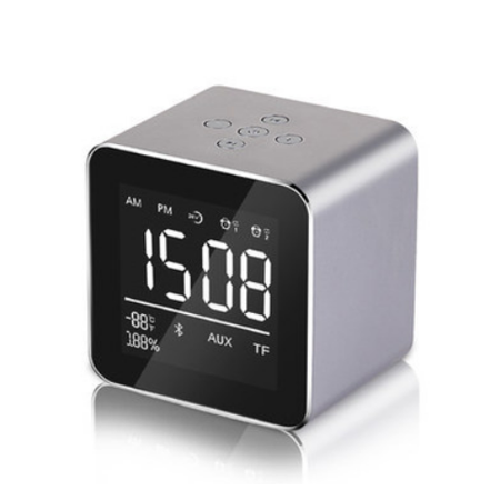 Bakeey 2in1 Wireless h Speaker+Dual Alarm Mirror Clock with Mic, Mini LED Display,Support TF Card 3.5mm AUX - image 8 of 8
