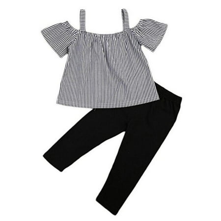 Baby Little Girl Off Shoulder Stripe T-Shirt Top Black Legging Pant Clothes Suit - Baby Girl Santa Suit