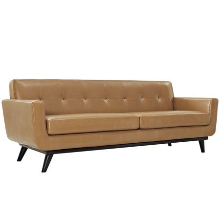 Modern Contemporary Leather Sofa, Brown Leather
