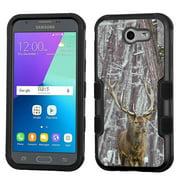 Hybrid Case for Samsung Galaxy J3 Luna Pro 4G LTE / J3 Eclipse, OneToughShield ® 3-Layer Phone Case (Black/Black) - Deer/Snow Forest