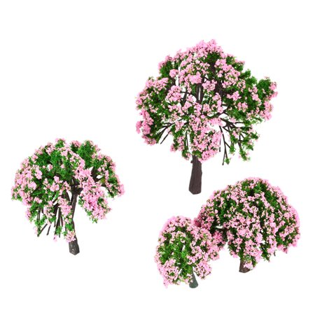 Ametoys 4 Pieces Plastic Model Trees Train Layout Garden Scenery White and Pink Flower Trees Diorama Miniature Pink