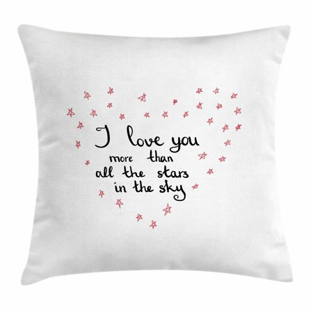 Valentine Love Letters - I Love You More Throw Pillow Cushion Cover, Hand Written Valentine's Day Letters with Stars in Shape of a Heart, Decorative Square Accent Pillow Case, 16 X 16 Inches, Red Grey White, by Ambesonne
