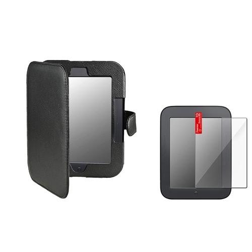 Insten Black Leather Case Cover+3 pc LCD Film For Nook 2 Simple Touch GlowLight Version