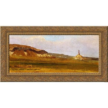 Wood Chimney - Chimney Rock 24x16 Gold Ornate Wood Framed Canvas Art by Bierstadt, Albert
