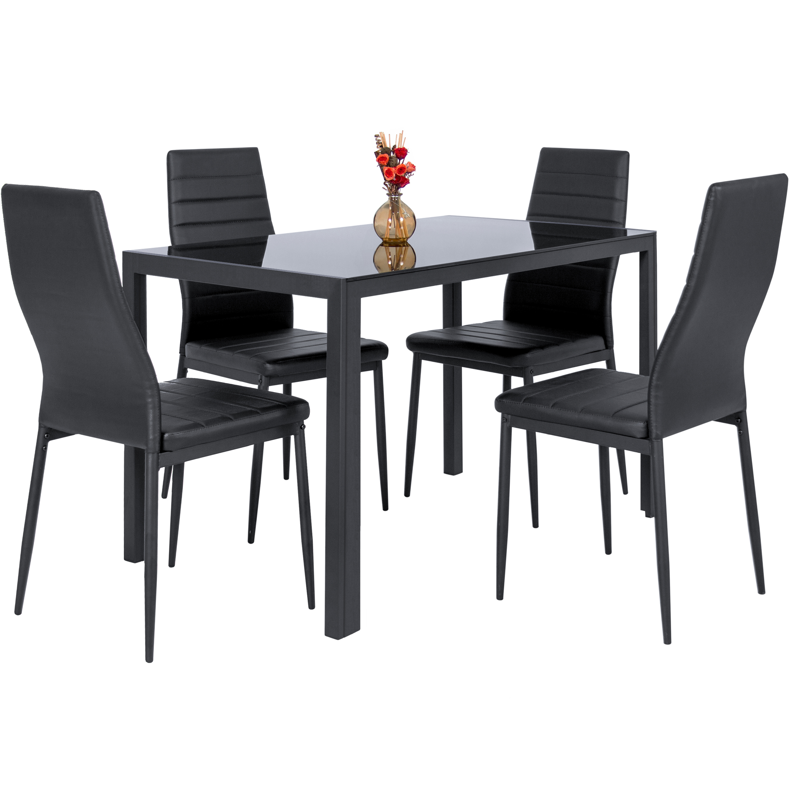 Best Choice Products 5 Piece Kitchen Dining Table Set W  Glass Top And 4 Leather Chairs Dinette Black by Best Choice Products