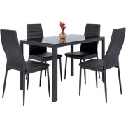best choice products 5 piece kitchen dining table set w glass top and 4 leather - Dining Table And Chair Set