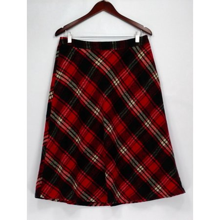 Dennis Basso Skirt Sz 8 Yarn Dyed Plaid Print Bias Cut Red A270630