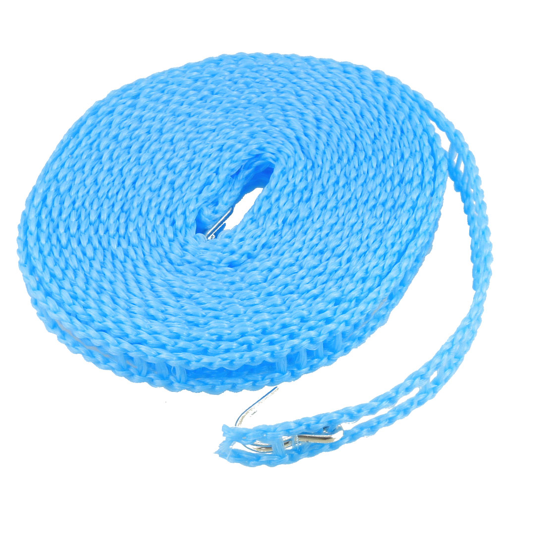 10Ft Plastic Household Windproof Nonslip Hanging Clothing Clothesline Rope w Hooks Blue