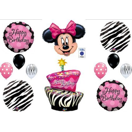 MINNIE MOUSE AND ZEBRA CAKE BIRTHDAY PARTY Balloons Decorations Supplies by Anagram - Minnie Mouse Cake Decoration
