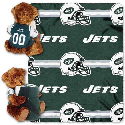 NFL New York Jets Bear Throw/Pillow Combo