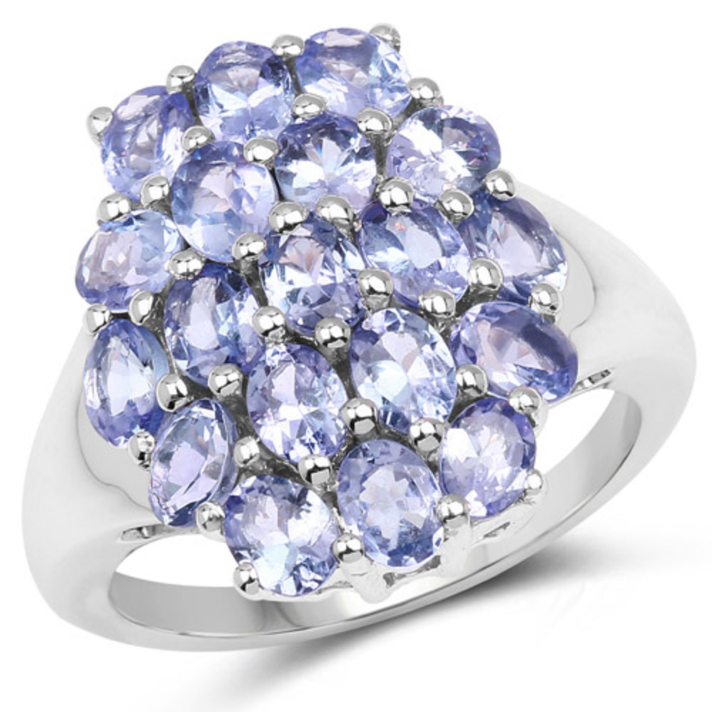 Genuine Oval Tanzanite Ring in Sterling Silver Size 8.00 by Bonyak Jewelry
