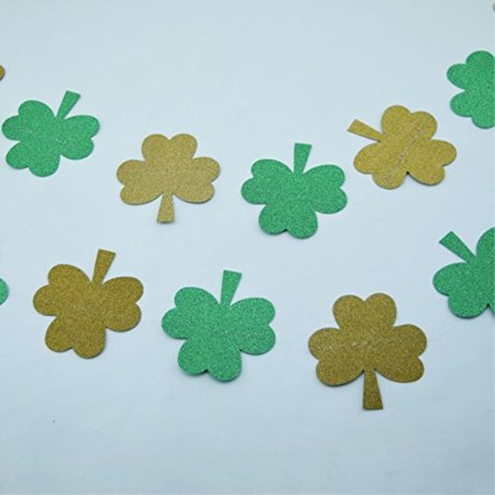 PaperLanternStore.com St. Patrick's Day Glitter Gold and Green Garland Banner (9.5FT)](Green Banner)