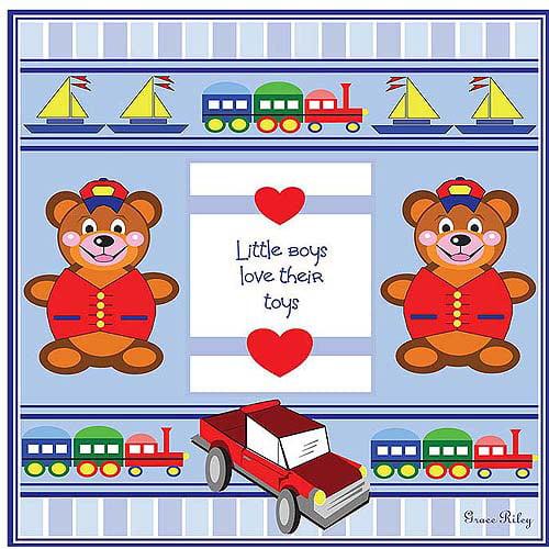 """Trademark Art """"Little Boys Love their Toys"""" Canvas Art by Grace Riley"""