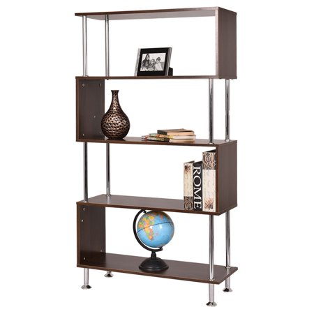 Costway 32''x12''x58'' 4 Shelf Bookcase Wooden Bookshelf Storage Display Unit (Steffy Wood Bookcase Display)
