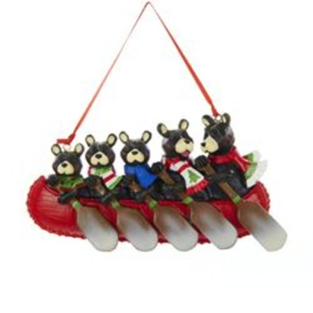 "5.5"" Brown Bear Family of Five in Canoe Christmas Ornament for Personalization"
