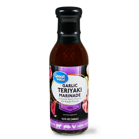(4 Pack) Great Value Garlic Teriyaki Marinade, 12 fl oz