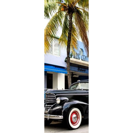 Classic Antique Car of Art Deco District - Park Central Hotel on Ocean Drive - Miami Beach Print Wall Art By Philippe