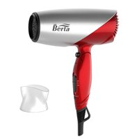 Berta 1875W Professional Foldable Hair Dryer With Powerful Airflow, Fast Drying, Two Heat, Two Speed Setting, Cool Shot Button- Red & White (BERTA-031)