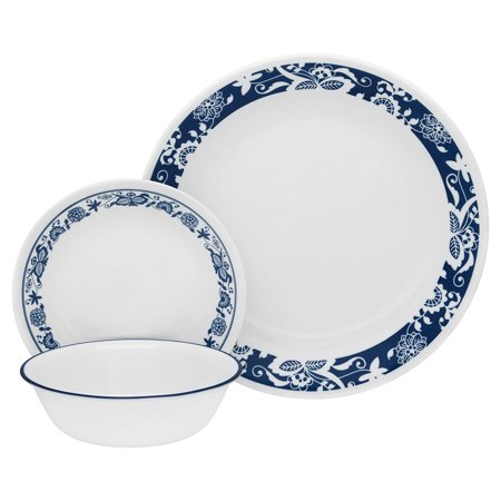 Livingware 16-Piece Dinnerware Set, True Blue, Service for 4, Service for 4 includes: 4 each 10-1/4 Dinner Plates, 6-3/4 Bread and Butter Plates,.., By Corelle