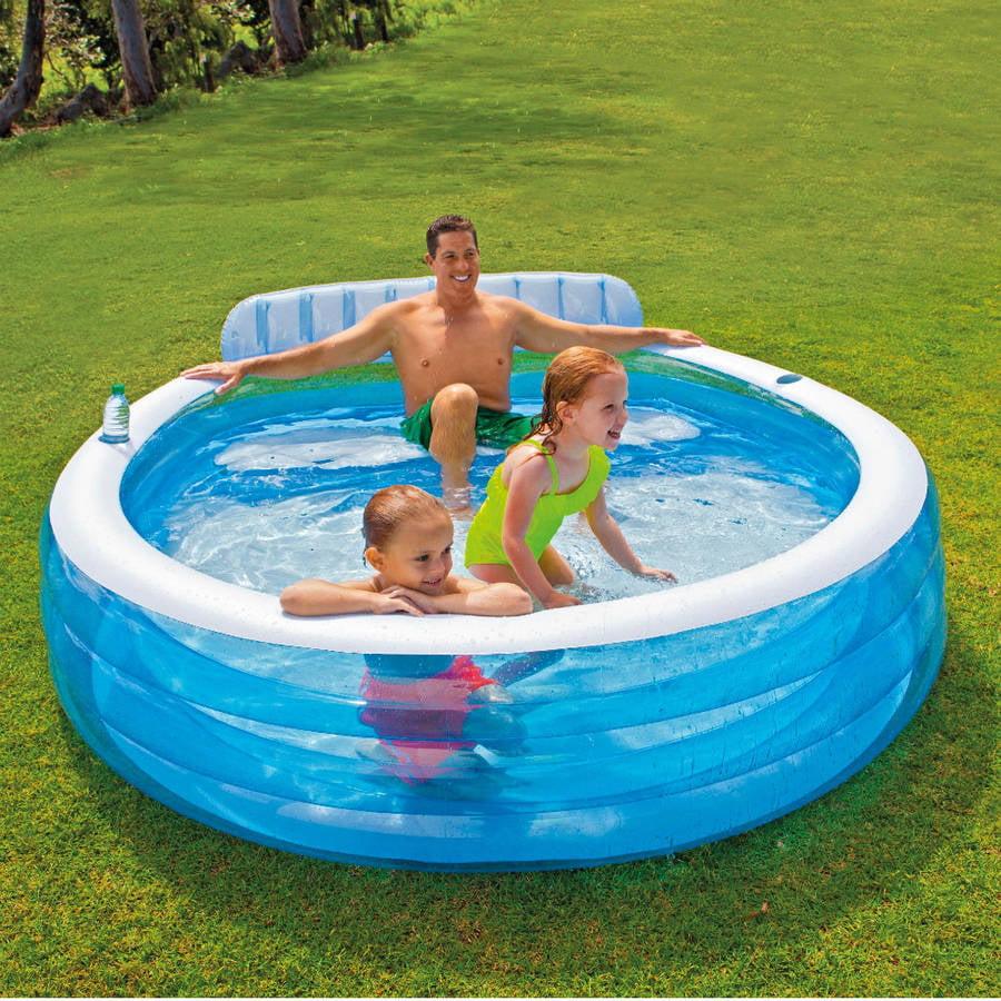 "Intex Swim Center Family Inflatable Lounge Pool, 88"" x 85"" x 30"
