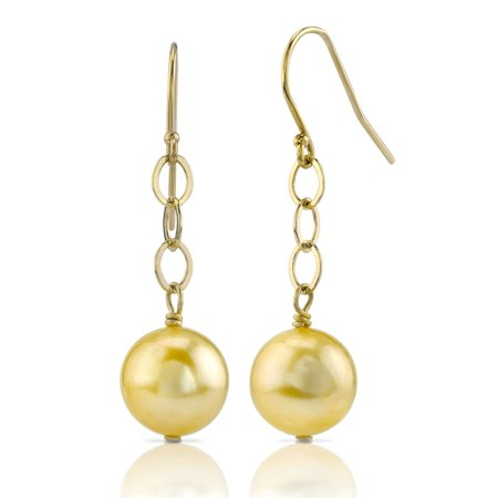14K Gold Golden South Sea Cultured Pearl Dangling Tincup Earrings