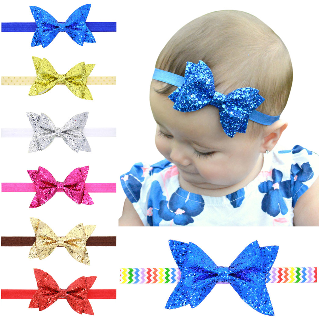 Coxeer Baby Headband Sequined Elastic Bow Head Wrap Hair Band for Newborn Toddler Kids (7 Pcs)