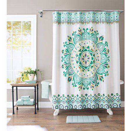 Better homes and gardens medallion fabric shower curtain Better homes and gardens shower curtains