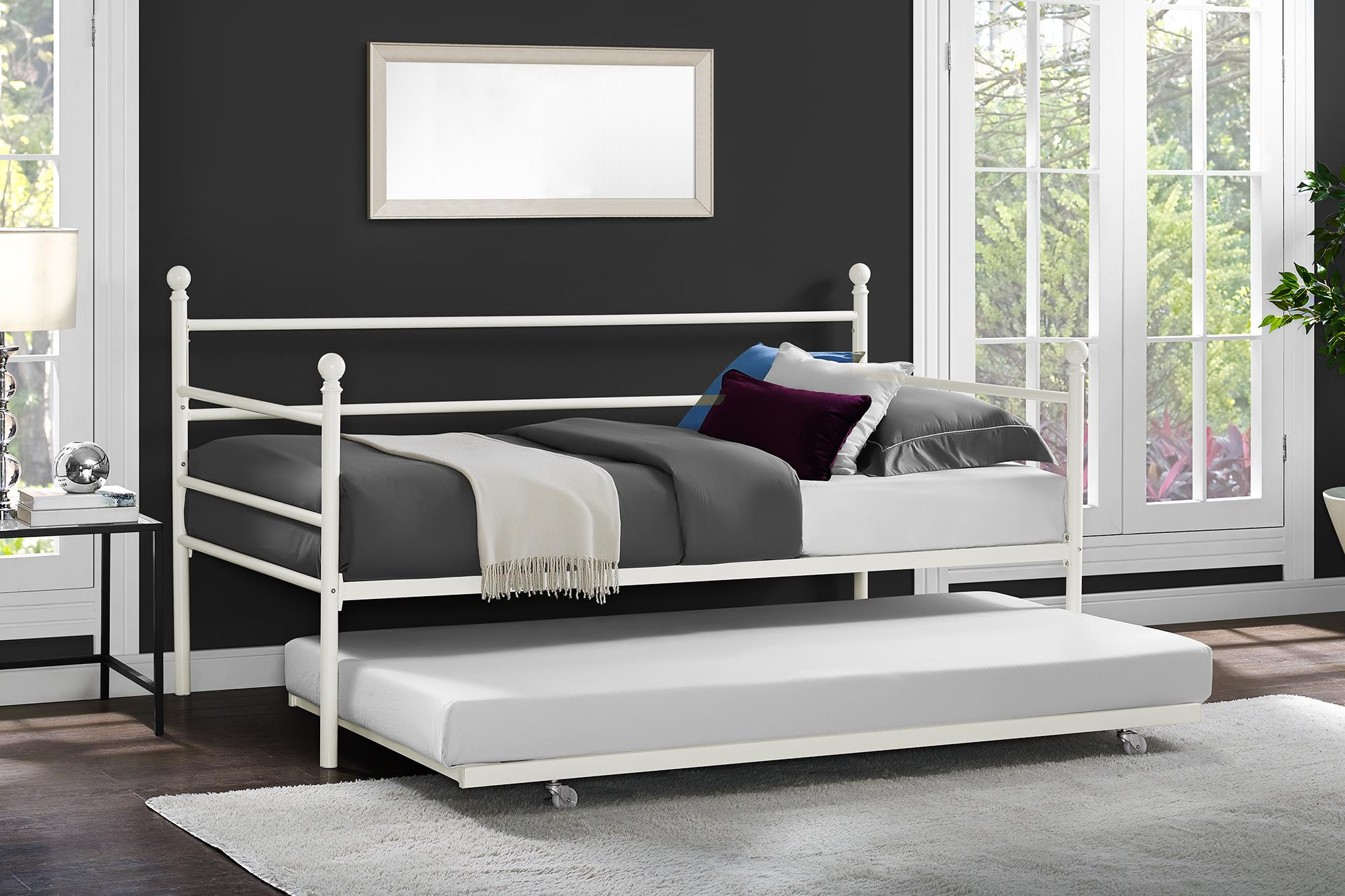 White Daybed With Trundle Twin Size Metal Black Frame Modern Bedroom ...